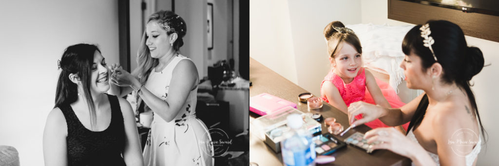 Bride preparation getting ready in hotel room. Getting hair make up done putting dress shoes on. Mariage champêtre extérieur rustique chic DIY hôtel Georgesville Saint-Georges de Beauce  Lisa-Marie Savard Photographie  Montréal, Québec  www.lisamariesavard.com