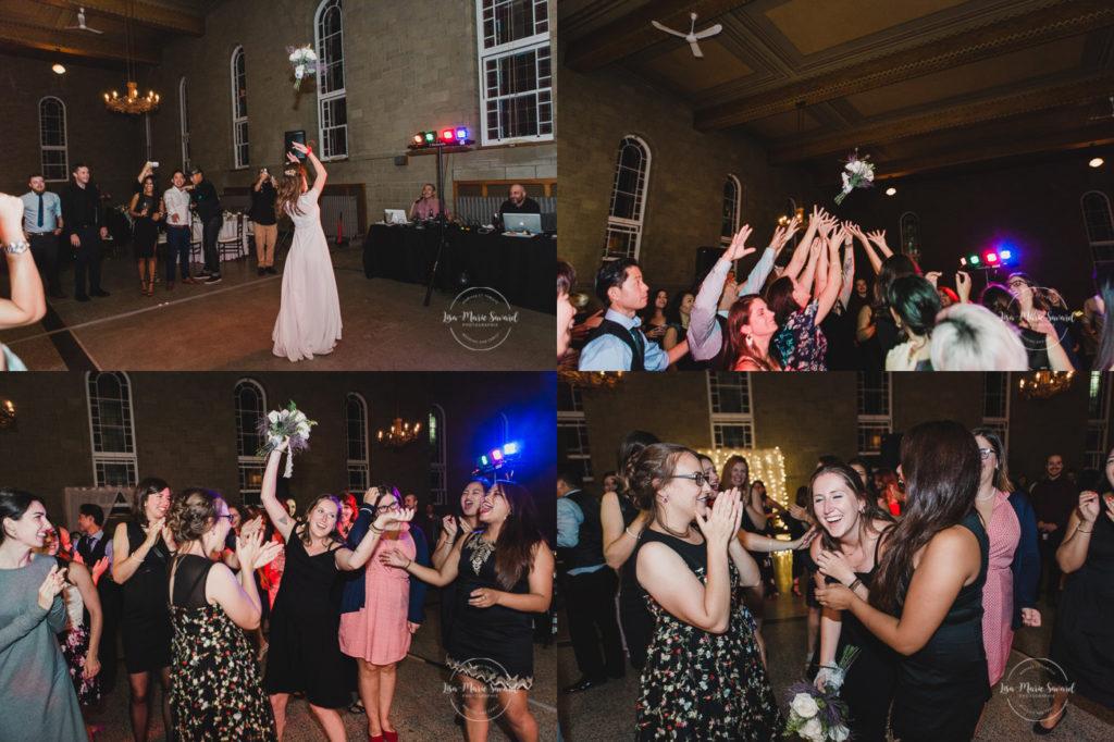 Rustic wedding reception rainy day bouquet throw dancing smiling guests smiling laughing alcohol drunk guests. Julie et Denis mariage champêtre rustique à l'Abbaye d'Oka Montréal Laurentides |Lisa-Marie Savard Photographie |Montréal, Québec