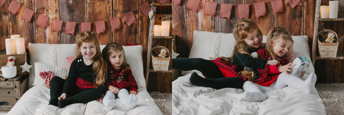 Christmas bed minis. Christmas mini sessions set up. Christmas mini sessions ideas. Holiday mini sessions ideas. Christmas pajamas pyjamas photos. Lemondrop Sequoia backdrop. Minis séances des Fêtes. Minis séances de Noël. Photographe pour enfants à Montréal. Photos de famille à Montréal. Montreal children photographer. Montreal mini sessions. Montreal family photographer | Lisa-Marie Savard Photographie | Montréal, Québec | www.lisamariesavard.com