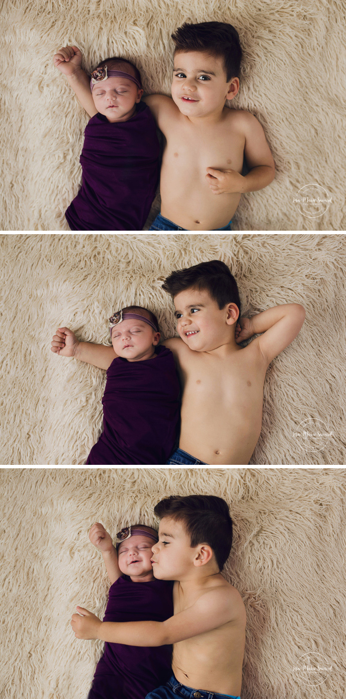 Newborn photo with sibling. Big brother with newborn sister. Sibling laying down with newborn baby. Big brother laying down with baby sister on fur blanket. Newborn baby girl. Newborn session ideas. Simple clean minimalist newborn photos. Organic neutral newborn photos. Baby girl organic floral tie back headband. Photographe de nouveau-né à Montréal. Séance photo nouveau-né en studio à Montréal. Montreal newborn photographer. In-studio newborn session Montreal | Lisa-Marie Savard Photographie | Montréal, Québec | www.lisamariesavard.com