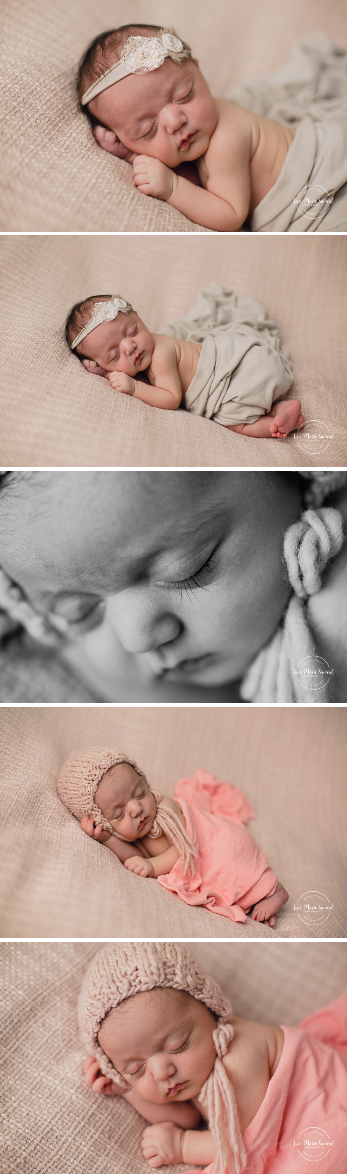Newborn baby girl. Newborn session ideas. Simple clean minimalist newborn photos. Newborn tushy up bum up pose. Organic neutral newborn photos. Baby girl organic floral tie back headband. Photographe de nouveau-né à Montréal. Séance photo nouveau-né en studio à Montréal. Montreal newborn photographer. In-studio newborn session Montreal | Lisa-Marie Savard Photographie | Montréal, Québec | www.lisamariesavard.com