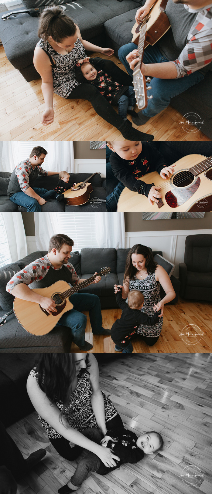 Lifestyle family sessions with guitar. Family photos playing music. Séance familiale lifestyle avec guitare à Montréal