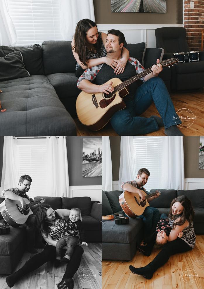 Lifestyle family sessions with guitar. Family photos playing music. Séance familiale lifestyle avec guitare à Montréal