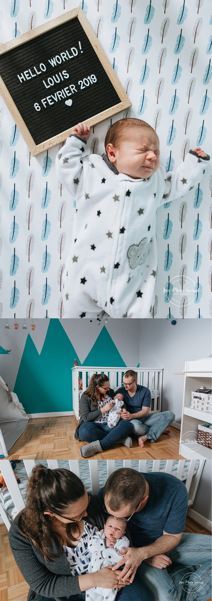 In home lifestyle newborn session with cat. Woodland themes nursery. Séance nouveau-né lifestyle au Saguenay newborn photographer