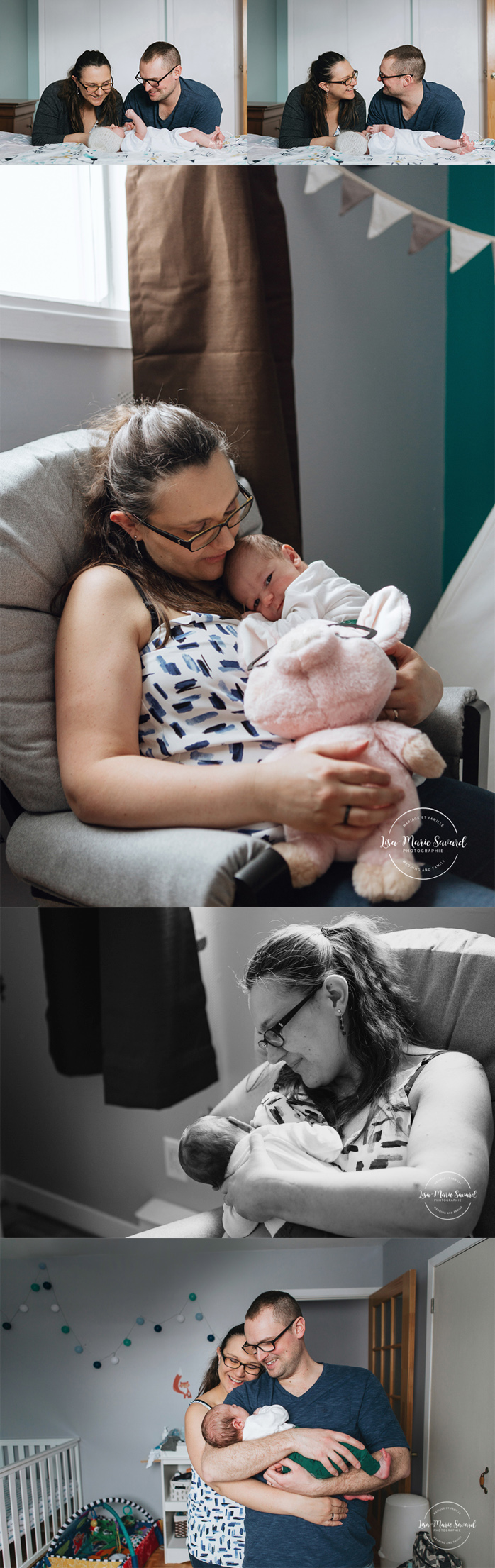 In home lifestyle newborn session with cat. Baby boy newborn photos. Séance nouveau-né lifestyle au Saguenay newborn photographer