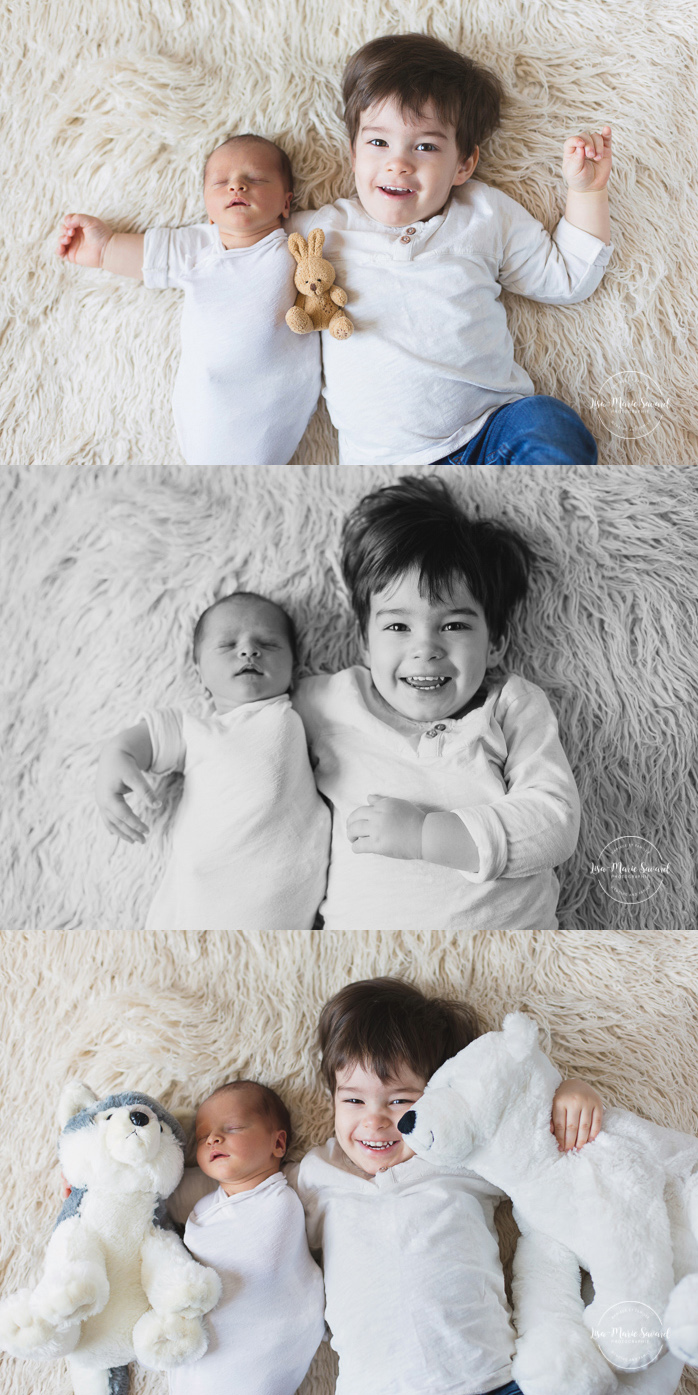 Newborn photo with sibling big brother. Montreal newborn photographer. Séance nouveau-né avec grand-frère à Montréal.