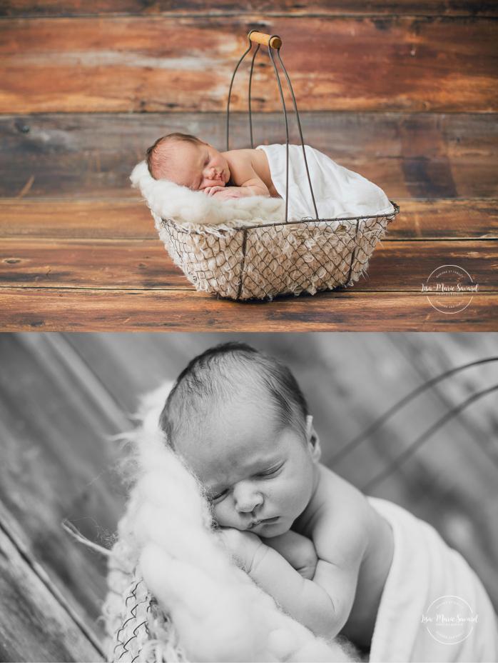 Boy newborn session fur basket on wooden backdrop. Lemondrop Sequoia. Montreal newborn photographer. Séance nouveau-né avec grand-frère à Montréal.