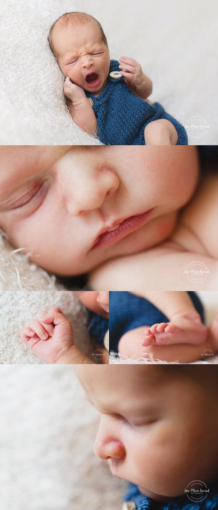 Boy newborn session macro details mouth hand foot nose. Montreal newborn photographer. Séance nouveau-né avec grand-frère à Montréal.