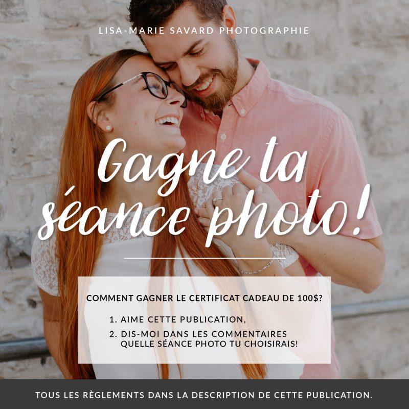 Concours gagne un certificat cadeau de 100$ pour la séance photo de ton choix. Photographe lifestyle spécialisée en mariage et séances familiales. Photographe à Montréal.