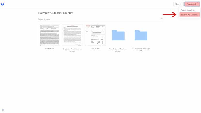 Instructions de téléchargement sur Dropbox. Sauvegarde de fichiers sur Dropbox. How to save your files from Dropbox.