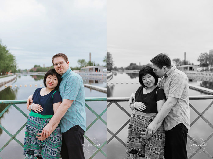 Urban maternity photos. Photos de maternité au Canal de Lachine. Lachine Canal maternity photos