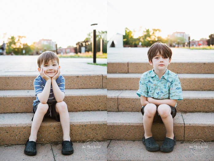 Kids sitting on steps. Outdoor urban family photos. Photographe de famille à Verdun. Verdun family photographer.