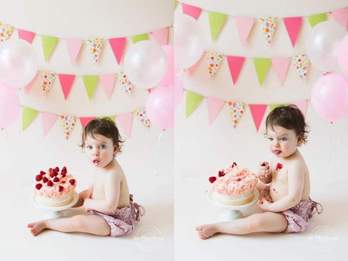 Strawberry Smash the Cake. Smash the Cake avec fraises. Photographe de Smash the Cake à Montréal. Montreal Smash the Cake photographer.