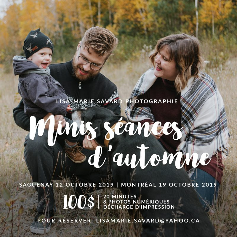 Minis séances d'automne à Montréal et Saguenay 2019. Montreal fall mini sessions 2019