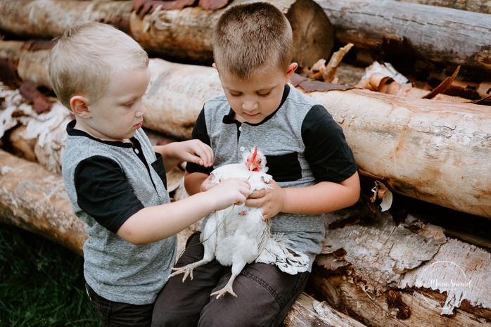 Lifestyle family session at home. Family session with chicken. Boys holding hen. Séance familiale à domicile à Saguenay. Séance photo à Laterrière. Saguenay family photographer.