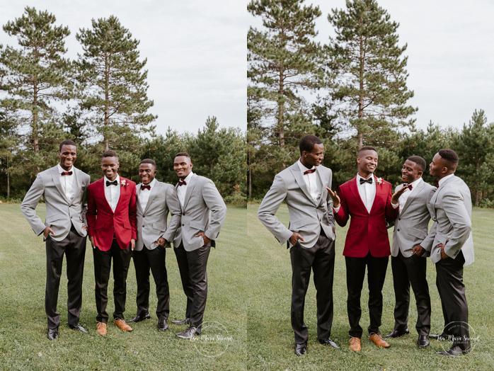 Groom with three groomsmen. Mixed wedding with Asian bride and Black groom. Mariage en automne au Saguenay. Saint-Nazaire Saguenay-Lac-Saint-Jean. Photographe de mariage Saguenay.