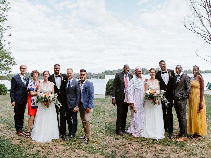 Wedding family photos by the river. Mariage en Outaouais. Fairmont Le Château Montebello outdoor wedding. Ottawa photographer.