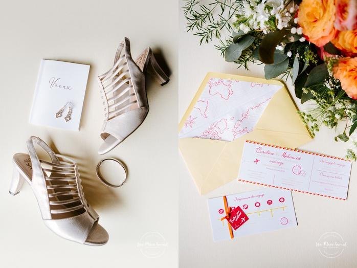 Wedding details shots vow book, earrings, bracelets, shows, wedding invitation and bouquet. Mariage en Outaouais. Fairmont Le Château Montebello wedding. Ottawa photographer.