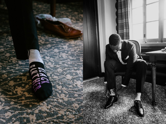 Groom putting shoes on. Mariage en Outaouais. Fairmont Le Château Montebello wedding. Ottawa photographer.
