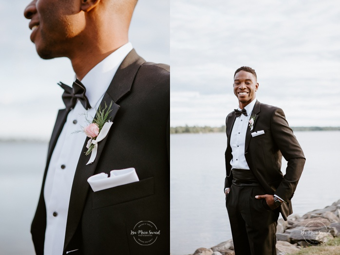 Groom individual portrait . African American groom and Caucasian bride. Mariage en Outaouais. Fairmont Le Château Montebello outdoor wedding. Ottawa photographer.