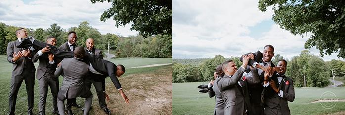 Golf club bridal party photos. Groomsmen dropping groom. Photos de mariage au club de golf du Château Montebello. Fairmont Le Château Montebello wedding. Ottawa photographer.