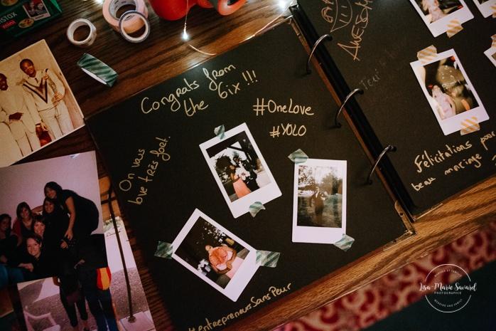 Wedding guest book with Polaroid pictures. Salle Héritage Château Montebello. Mariage en Outaouais. Fairmont Le Château Montebello. Ottawa photographer.