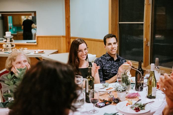 Emotional wedding reception speeches. Same sex wedding photos. Lesbian wedding photos. Intimate summer camp LGBTQ+ wedding. Mariage LGBTQ+ à Montréal. Montreal LGBTQ+ wedding.