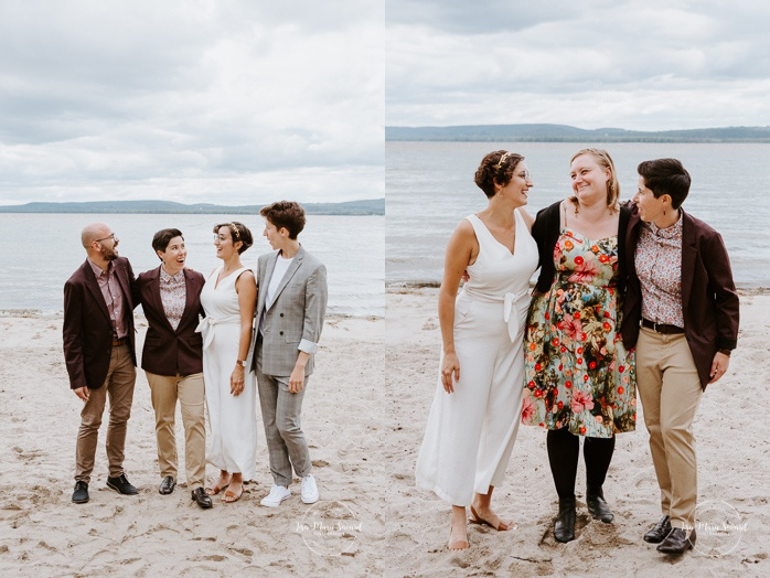 Same sex wedding photos. Two brides with witnesses. Intimate summer camp LGBTQ+ wedding. Mariage LGBTQ+ à Montréal. Montreal LGBTQ+ wedding.