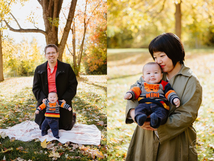 Fall family photos with Asian family. Fall family session. Photos de famille en automne au parc Angrignon. Photographe de famille à Verdun LaSalle. Montreal family photographer