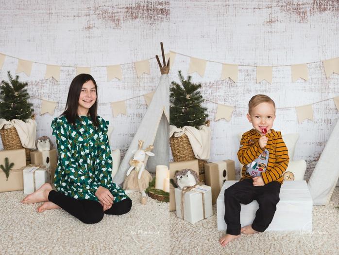 Christmas mini session ideas. Indoor Christmas boho decor. R2 Backdrops White Wash. Minis séance des Fêtes. Montreal Christmas studio photos.