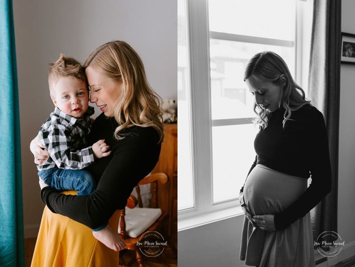 In-home maternity session. Family pregnancy photos. Maternity photos with toddler. Photos de maternité au Saguenay. In-home maternity session with toddler in Saguenay
