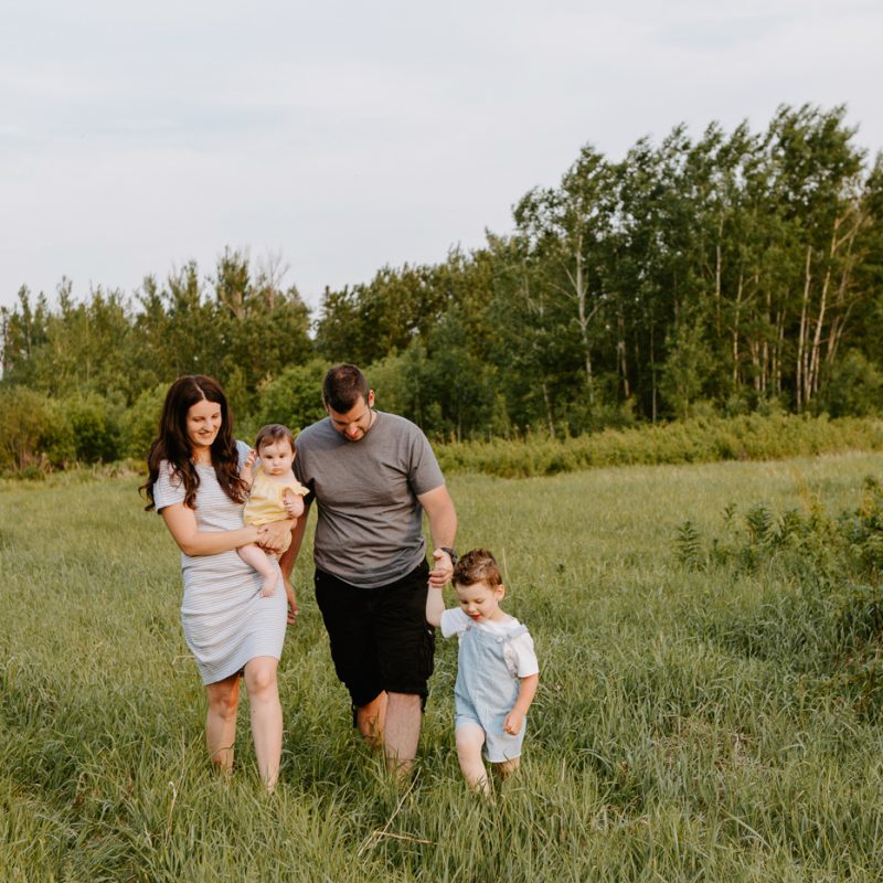 Family photos in a field. Golden hour family photos. Family of four photos. Séance photo dans un champ sauvage. Photographe de famille au Saguenay-Lac-Saint-Jean. Saguenay family photographer.
