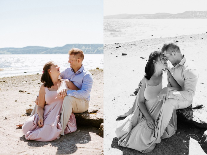 Beach family photos. Beach family session. Romantic beach photos. Beach engagement session. Photos à la plage de La Baie quai d'escale. Photographe de famille au Saguenay. Saguenay family photographer.