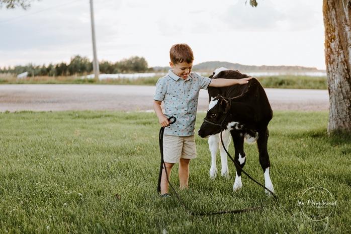 Little boy petting cow calf. Dairy farm photos with cows. Farm photo session. Family photos with cows. Countryside family photos. Photos de famille à la campagne. Photos de famille dans un champ. Photographe de famille à Montréal. Montreal family photographer.