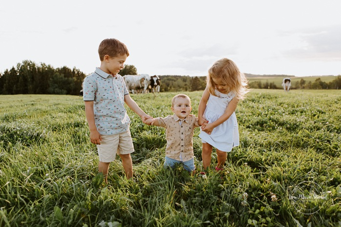 Children walking next to cows. Siblings holding hands. Dairy farm photos with cows. Farm photo session. Family photos with cows. Countryside family photos. Photos de famille à la campagne. Photos de famille dans un champ. Photographe de famille à Montréal. Montreal family photographer.