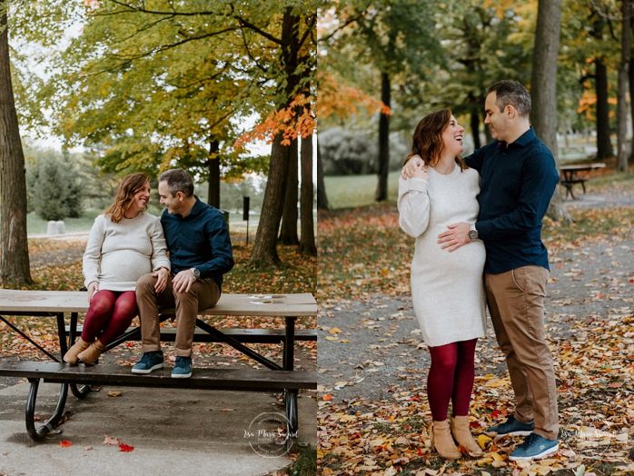 Fall maternity photos. Fall maternity session. Maternity photos autumn leaves. Photographe de maternité à Verdun. Verdun maternity photographer. Parc Angrignon. Angrignon Park.